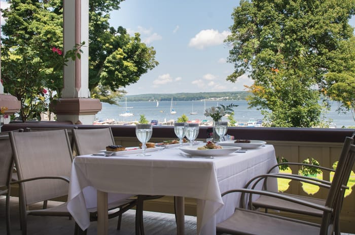Lakefront dining at the Athenaeum Hotel